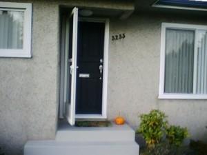 Giant pumpkin on doorstep